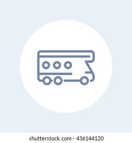 camping van icon, camper, camping vehicle vector sign, line icon isolated on white, vector illustration