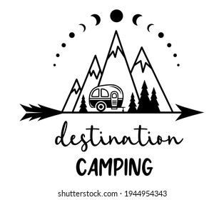 Camping vector concept with mountains, camper trailer, trees and wanderlust ispirational quote. Adventure sign, travel icon. Funny print for shirt. Outdoor emblem.