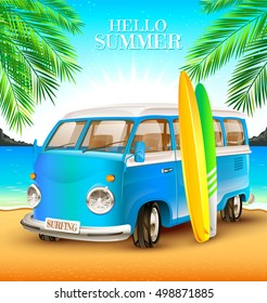 Camping. Vector illustration of a bus and the beach. A blue van. Surfing.
