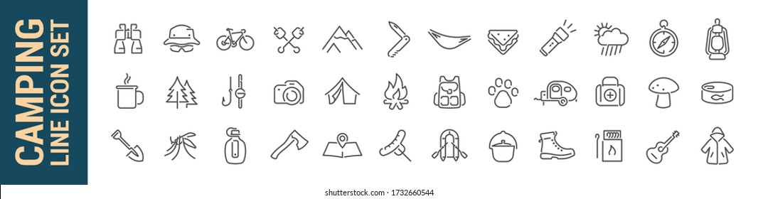 Camping vector isolated line icon set. Hiking camp & travel