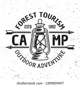 Camping vector vintage emblem, label, badge or logo with gas lantern isolated on white background