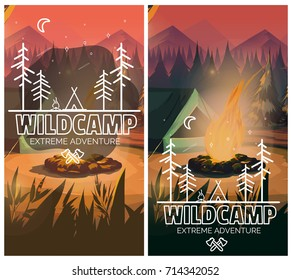 Camping vertical background poster with With tent, campfire , mountains and forest on background. Vector illustration