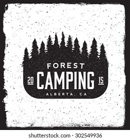 camping vintage emblem. logotype template with forest, trees. outdoor activity symbol with ink stamp texture