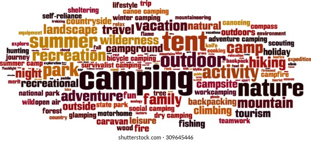Camping word cloud concept. Vector illustration