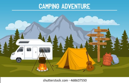 Campsite with  camping tent, rocky mountains, pine forest, guitar, pot, campfire, hiking backpacks , directional sign, caravan . outdoor tourism scene
