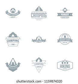 Campsite logo set. Simple set of 9 campsite vector logo for web isolated on white background