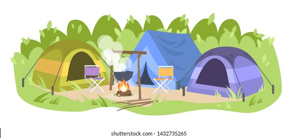 Campsite with no people flat vector illustration. Forest camp, tents chairs and camping pot. Landscape tourism. Cooking food on bonfire, outdoor picnic. Empty campground  isolated on white background