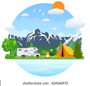 Campsite Place In Mountain Lake Forest Camping Landscape With Rv Traveler Bus Flat Design