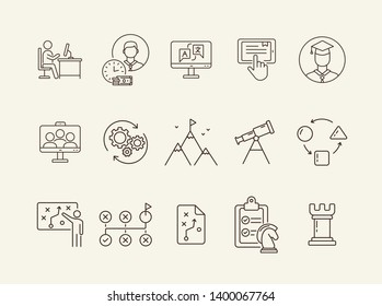 Campus line icon set. Activity, studying, gamification. College life concept. Can be used for topics like education, university, development