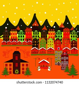 Can be printed and used as wrapping paper, wallpaper, textile, fabric, etc. Picture on yellow, orange and red colors. Vector illustration. Vector with houses and wild forest life with mountans.