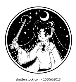 Can be used for coloring book, stickers, tattoo, print, t-shirt, poster and cards. Pretty anime witch wearing uniform with magic wand. Isolated vector illustration.