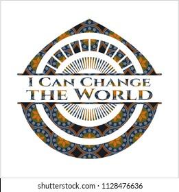 I Can Change the World arabic badge background. Arabesque decoration.