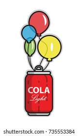 can with cola with balloons, up, light soda, low-calorie effervescent drink,funny colorful balloons,Vector image, flat design