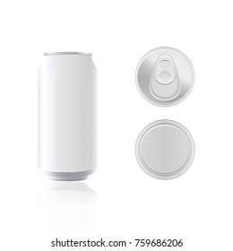Can empty metal for packaging vector for your design with top and bottom view, isolated on white background, package design for advertising, mock up illustration