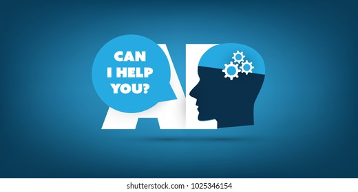 Can I Help You? - Global AI Assistance, Automated Support, Digital Aid, Deep Learning and Future Technology Concept Design with Human Head - Vector Illustration