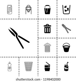 Can icon. collection of 13 can filled and outline icons such as bucket, soda, garden tools, trash bin, tank, energy drink. editable can icons for web and mobile.