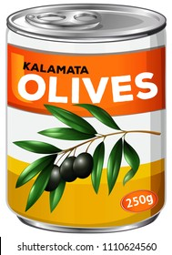 Can of kalamata olives illustration