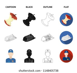 Can used used pot, apple stub, old dirty and wrinkled newspaper, the man who takes out the garbage.Garbage and trash set collection icons in cartoon,black,outline,flat style vector symbol stock