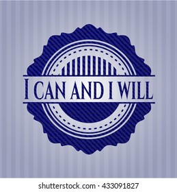 I can and i will emblem with jean background