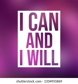 i can and i will. successful quote with modern background vector illustration