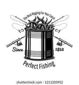 Can with worms fishing rig with crossed fishing rods in engraving style. Logo for fishing or fishing shop on white