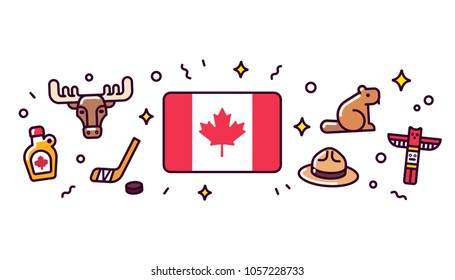 Canada banner design elements canadian flag surrounded with traditional signs and symbols vector clip