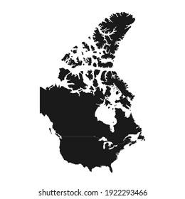 Canada black map on white background