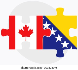 Canada and Bosnia and Herzegovina Flags in puzzle  isolated on white background