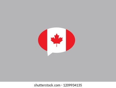Canada bubble speech national flag country emblem language symbol
