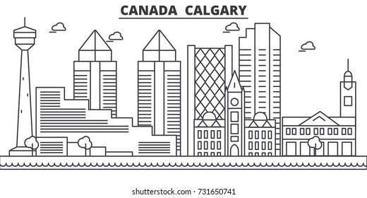 Canada, Calgary architecture line skyline illustration. Linear vector cityscape with famous landmarks, city sights, design icons. Landscape wtih editable strokes