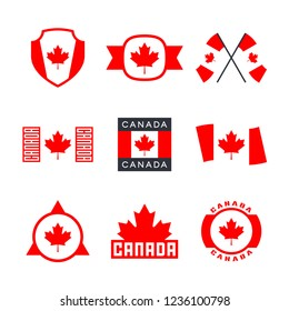 Canada, Canadian flag and red maple leaf logo design