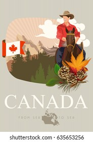 Canada. Canadian tradition vector icons. Banner about canadian culture.