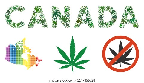 Canada caption composition of cannabis leaves in different sizes and green hues. Vector flat hemp icons are composed into Canada caption mosaic. Narcotic vector illustration.