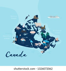 Canada cartoon travel map vector illustration with landmarks, cities, roadmap. Infographic concept shape template design with country navigator. Business journey and tourism web layout, clipart, icons