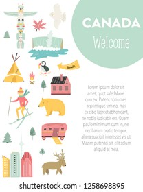 Canada cartoon vector banner. Travel illustration with landmarks, animals and nature places with copyspace. Cover template