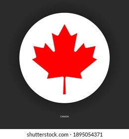 Canada circle flag with shadow on dark grey background. Canadian button flag on barely dark background.