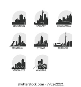Canada cities icons set. Skyline landmarks landscape canadian silhouettes vector logo