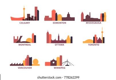 Canada cities icons set. Skyline landmarks landscape canadian silhouette vector logos