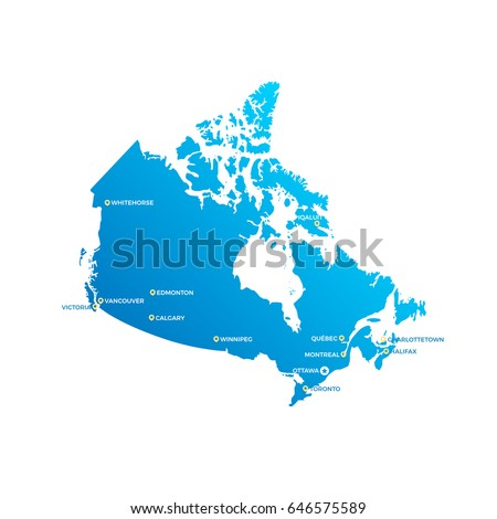 Map Of Canada With Cities.Canada Cities Map Stock Vector Royalty Free 646575589 Shutterstock