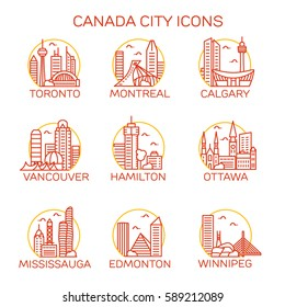 Canada City Icons. Vector illustration
