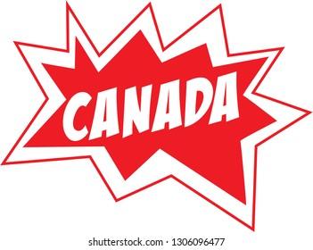 Canada comic lettering starburst