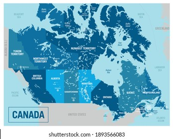 Canada country political map. Detailed vector illustration with isolated states, regions, islands and cities easy to ungroup.