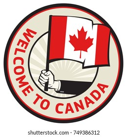 Canada country welcome sign or stamp. Vector illustration