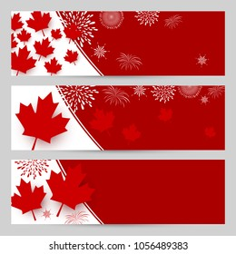 Canada day banner design with copy space vector illustration