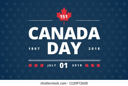 Canada Day blue background - Canada Day lettering design, red Canadian maple leaf, July 1st typography. A very stylish vector illustration!