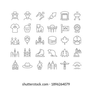 Canada Day. Collection of perfectly thin icons for web design, app, and the most modern projects. The kit of signs for category Holidays.