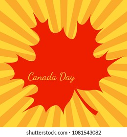 Canada Day. Concept of event. 1 July. The name of the holiday. Orange background, rays from the center, red maple leave