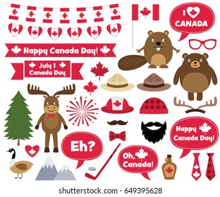 Canada Day design elements and photo booth props, vector set