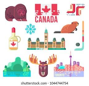 f611c45d95 Canada Day Design Elements for Web Design or Print Design. Stereotype  Symbols of Canadian Life