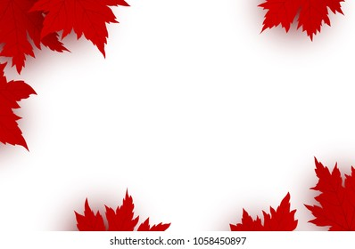 Canada day design of red maple leaves isolated on white background with copy space vector illustration